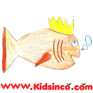 Prince wearing a crown turns into a fish.