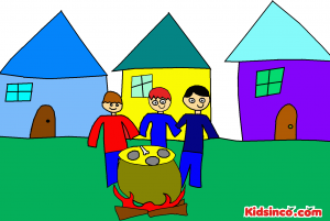 Three men in a village cooking a stone soup