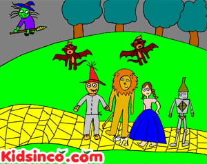 Dorothy, the Lion, The Scarecrow, and the Tin Man follow the yellow brick road