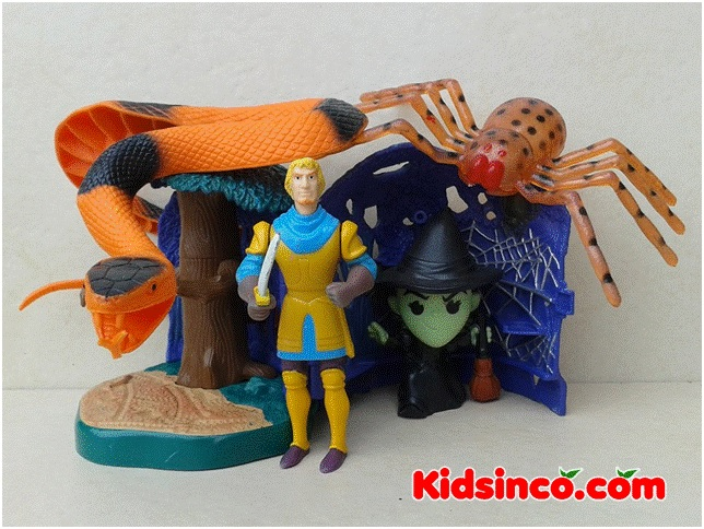 Prince in a castle with a snake, spider, and a witch.