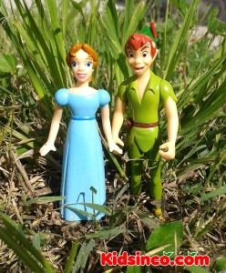 Peter Pan and Wendy in the forest