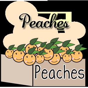 Peaches, Peach free clip art, box of peaches, happy peaches, smiling peaches