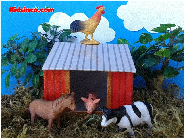 hen_chicken_cow_horse_fox_pig_barn