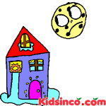 House, Water, Moon, Free Clip Art.  Why The Moon Lives in the Sky