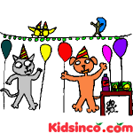 Cat's Party, Dog and Cat in a Party Free Clip Art