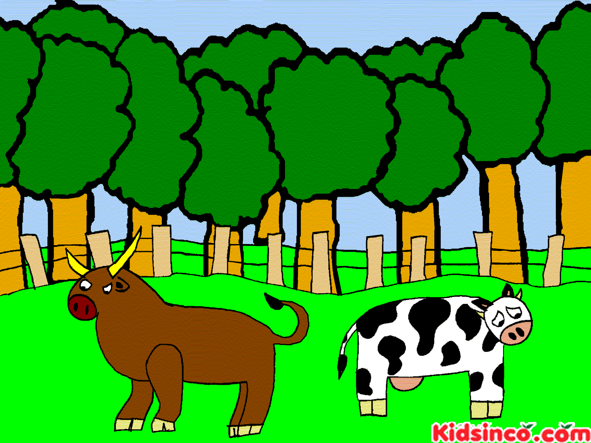 Bull, Cow, Barn
