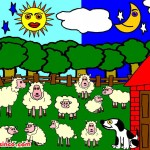 Lambs, Dog, Barn, Sun, Moon, Cloud