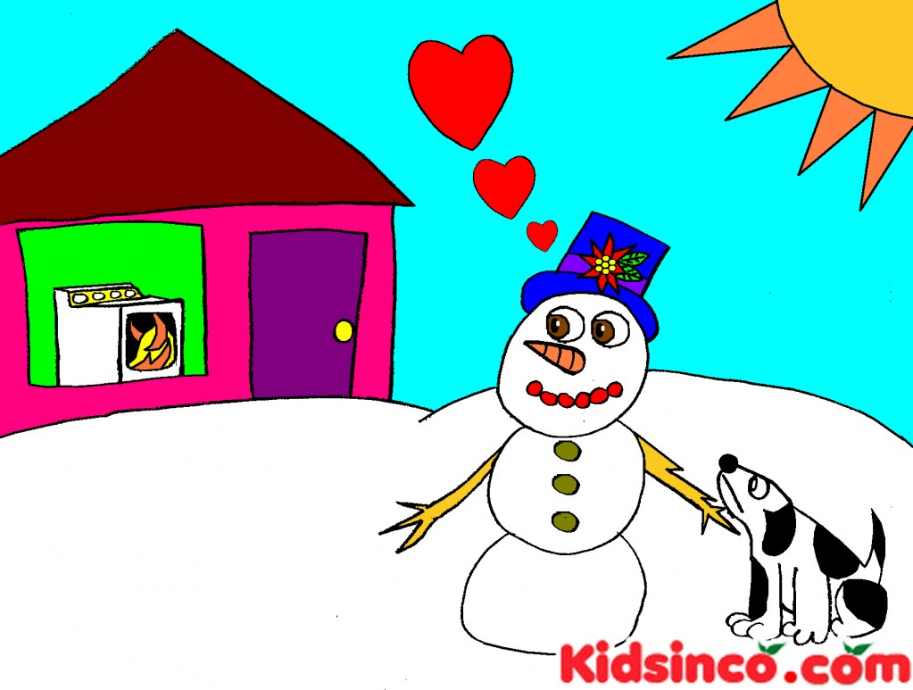 Snowman, dog, winter free clip art