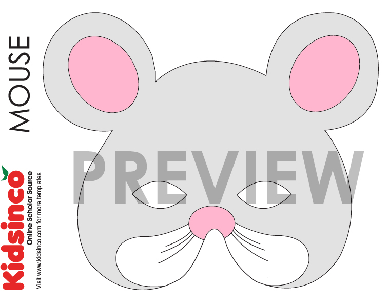 Animal masks templates k i d s i n free for Mouse mask template printable